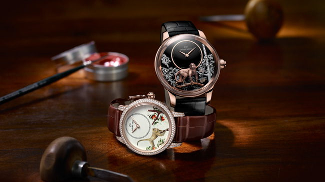 Jaquet Droz, Petite Heure Minute 35mm Monkey: J005003216, and Relief Monkey: J005023281, Ambiance