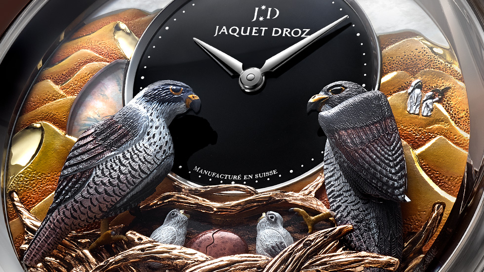Jaquet Droz, Dubai Shopping Festival, Bird Repeater Falcon, J031034210, Close-Up
