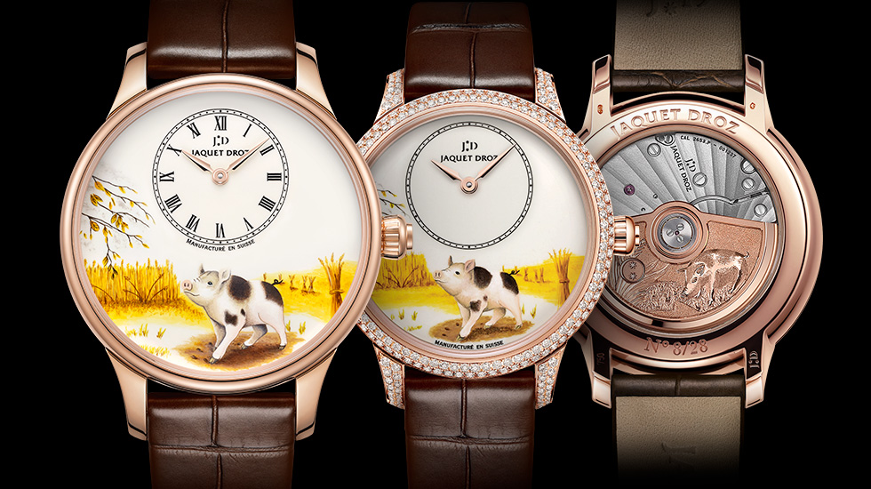 Jaquet Droz, Chinese New Year, Petite Heure Minute Pig, Duo Front Back, J005003225 J005013223