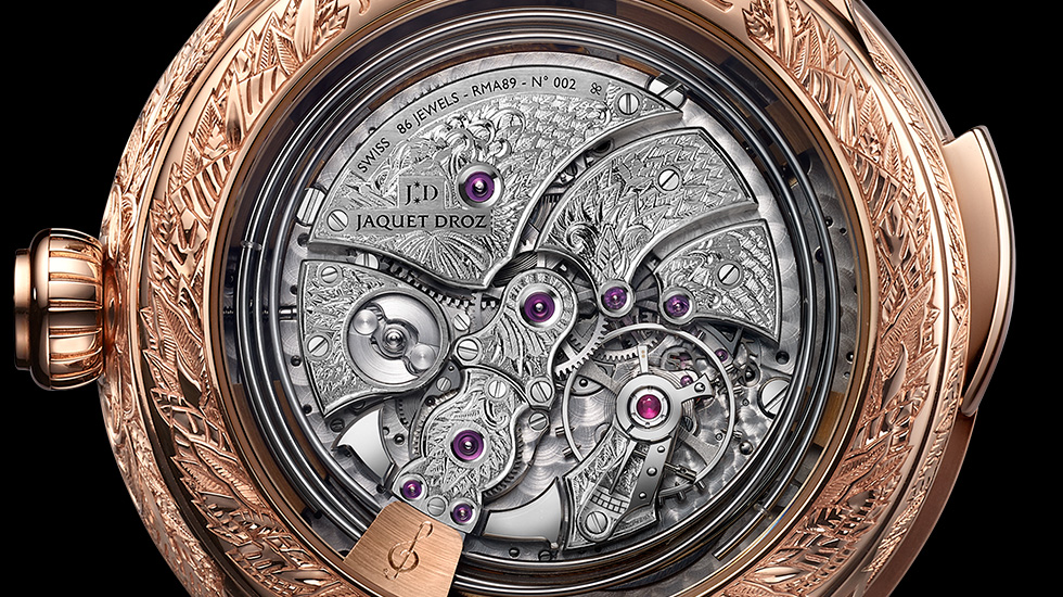 Jaquet Droz, Tropical Bird Repeater, J033033206, Movement Close-Up