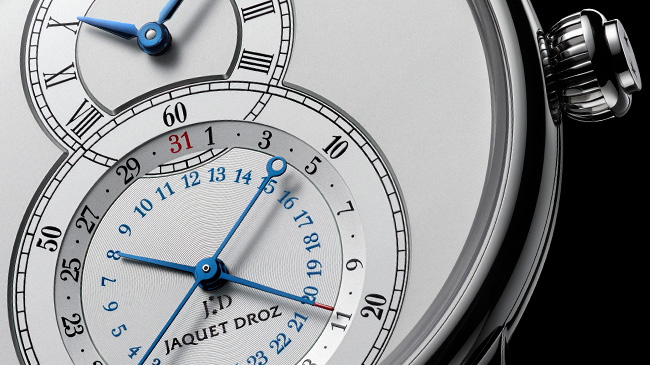 Jaquet Droz, J016030240, Grande Seconde Dual Time Silver Close-Up