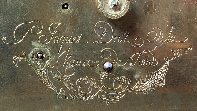 Jaquet Droz, singing bird pendulum clock by Pierre Jaquet-Droz, Close-Up on engraved signature