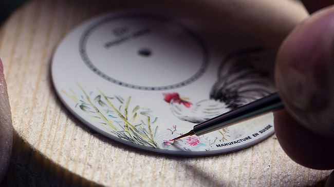 Jaquet Droz, Petite Heure Minute Rooster, Painting Workshop close-up