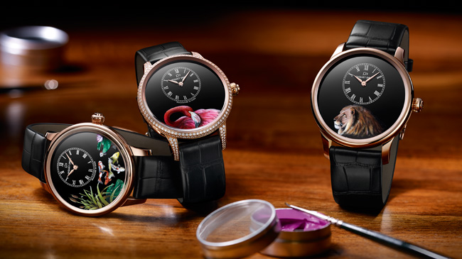 Jaquet Droz, Baselworld 2017 Novelties, Petite Heure Minute Painting on Black Enamel, Ambiance