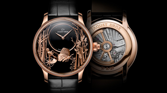 Jaquet Droz, Baselworld 2017 Novelties, J032533270, Loving Butterfly Automaton, Front / Back