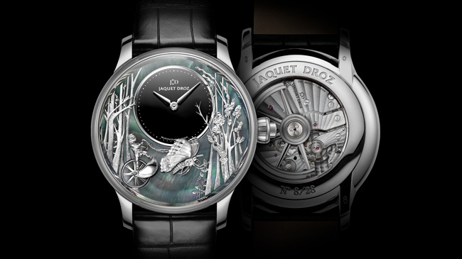 Jaquet Droz, Baselworld 2017 Novelties, J032534270, Loving Butterfly Automaton, Front / Back