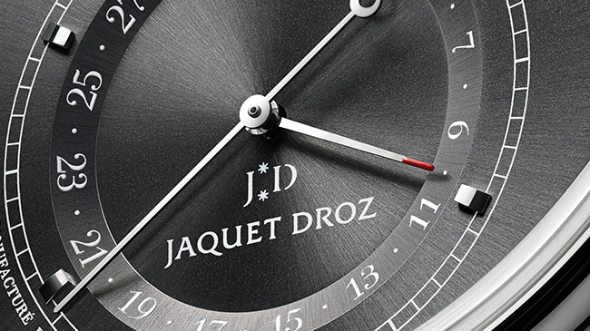 Jaquet Droz, Grande Seconde Quantième Satin-Brushed Anthracite, J007030248, Dial Close Up