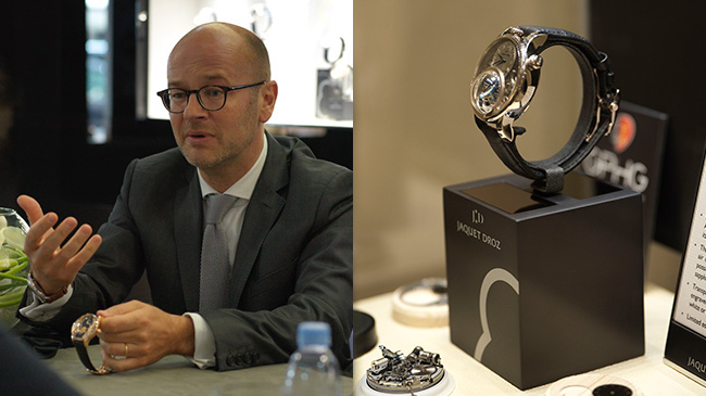 Jaquet Droz, 2017 Novelties in Paris, Christian Lattmann, Private Presentation, J032533270, Loving Butterfly Automaton, J031534240, Charming Bird, Showcase