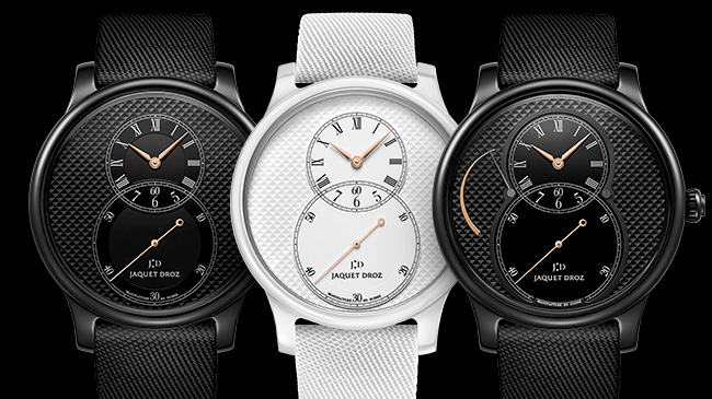 Jaquet Droz, Grande Seconde Ceramic Clous De Paris, J003035540 J003036540 J027035541, Trio Front
