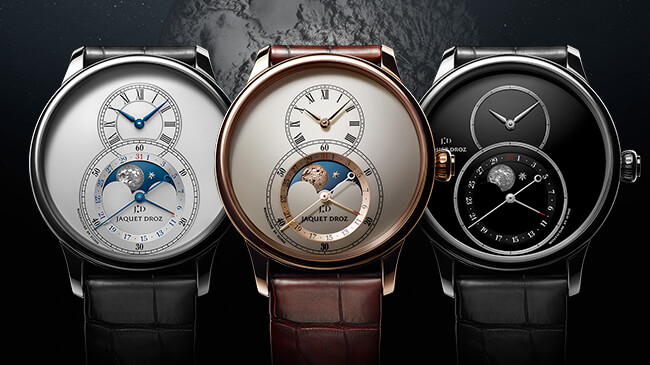 Jaquet Droz, Grande Seconde Moon, Trio Silver, Ivory Enamel and Onyx, J007530240 J007533200 J007530270