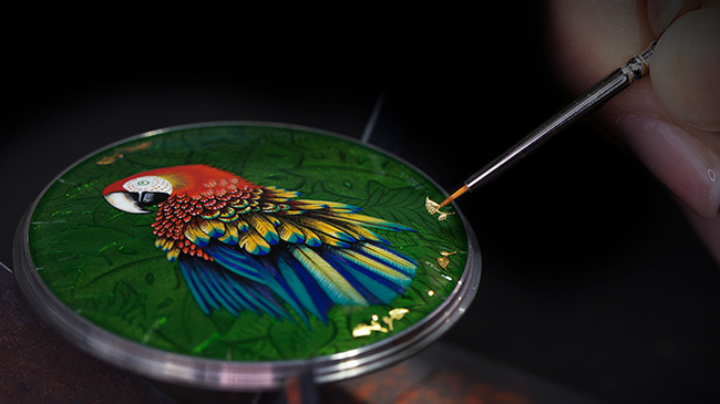 Jaquet Droz, Parrot Repeater Pocket Watch, back cover macaw enamel painting