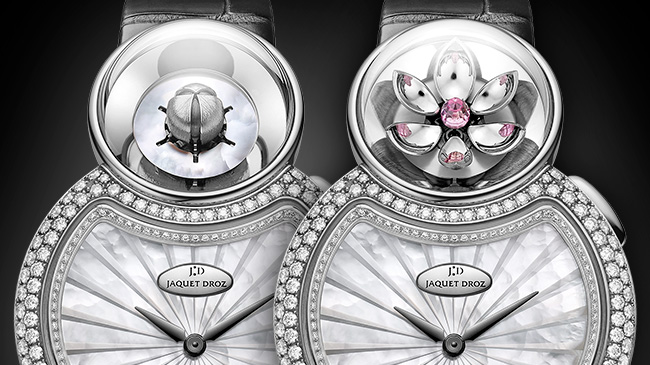 Jaquet Droz, J032004270, Lady 8 Flower, Close-up, Open and closed