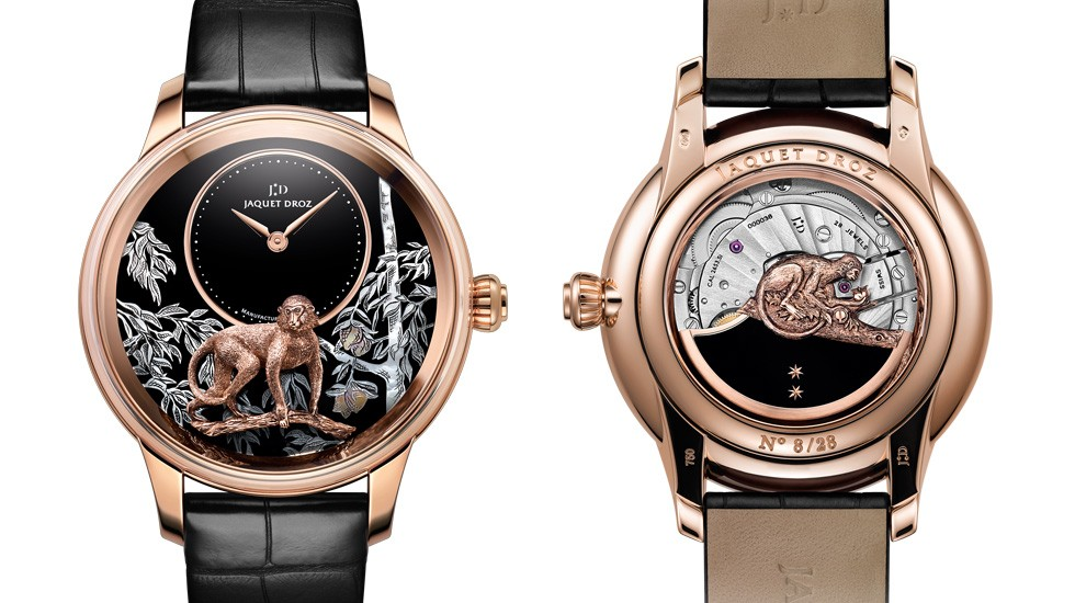 Jaquet Droz, Petite Heure Minute Relief Monkey Red Gold: J005023281