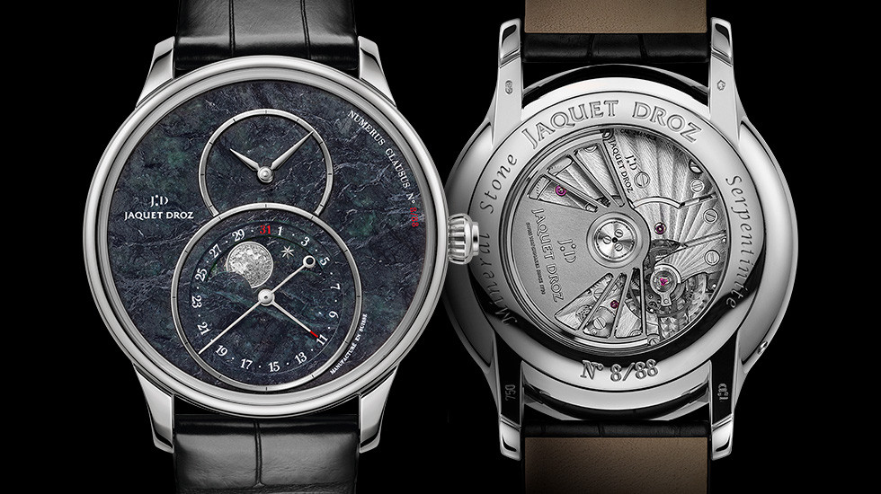 Jaquet Droz, Grande Seconde Moon Swiss Serpentinite, Front Back
