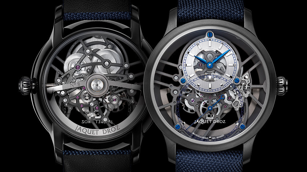 Jaquet Droz, New 2019 Collection Preview, Grande Seconde Skelet-One Ceramic, Front Back
