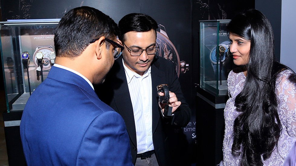 Jaquet Droz and Johnson Watch Company, Special cocktail in New Delhi, Guests Reviewing Pieces