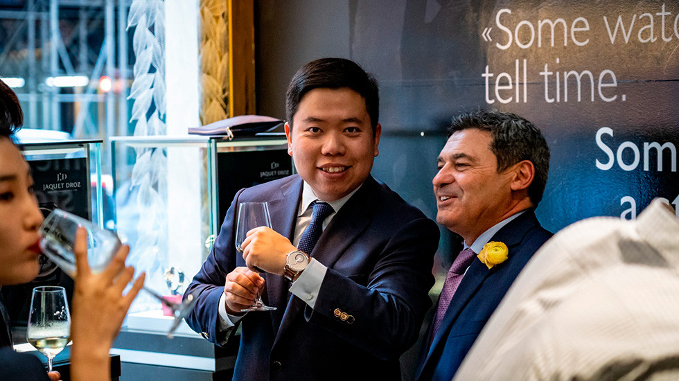 Jaquet Droz, 2019 Novelties Presentation, New York, Piece Owner Showing his timepiece