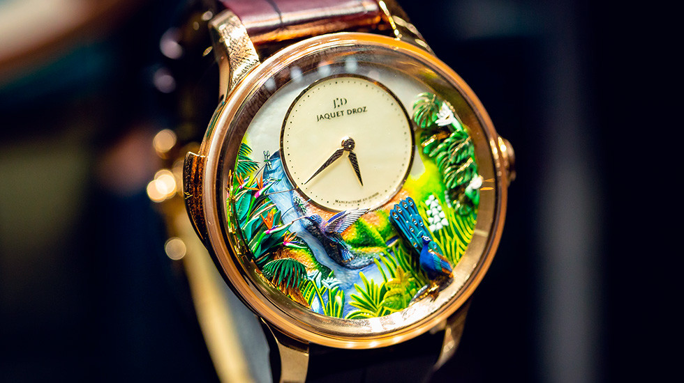 Jaquet Droz, 2019 Novelties Presentation, New York, Tropical Bird Repeater, Close-Up