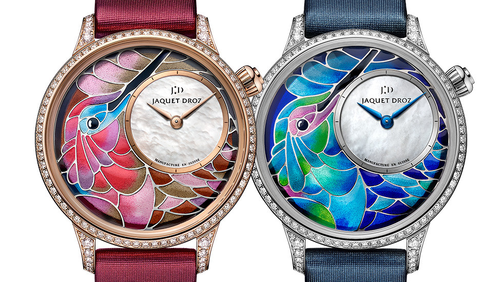 Jaquet Droz, Petite Heure Minute Smalta Clara Humming Bird, J005503501, J005504501, Fronts