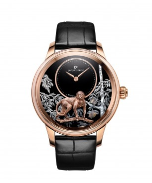 Jaquet Droz, Petite Heure Minute Relief Monkey, Red Gold, J005023281, Front