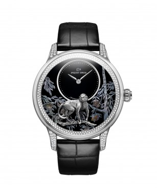 Jaquet Droz, Petite Heure Minute Relief Monkey, White Gold, J005024280, Front