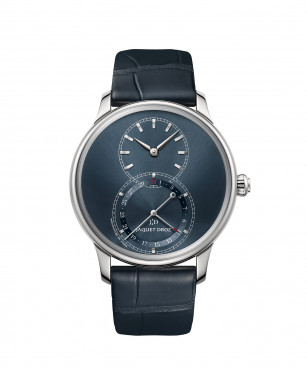 Jaquet Droz, Grande Seconde Quantième Satin-brushed Blue, J007010244, Front