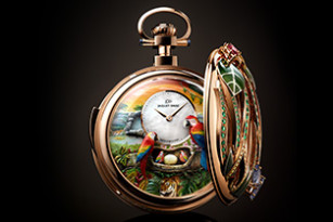 TO MARK ITS 280TH ANNIVERSARY, JAQUET DROZ PRESENTS THE PARROT REPEATER POCKET WATCH, A ONE-OF-A-KIND AUTOMATON WITH MINUTE REPEATER