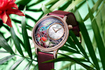 "PETITE HEURE MINUTE ""SMALTA CLARA HUMMINGBIRD"": THE NEW CREATION IN PLIQUE-À-JOUR ENAMEL BY JAQUET DROZ"